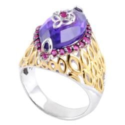Michael Valitutti Two tone Amethyst and Ruby Ring