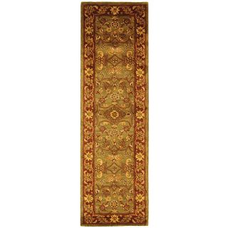 Handmade Taj Mahal Green/ Rust Wool Runner (23 x 16)