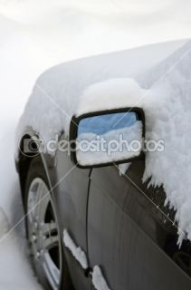 Heavy snow around car mirror  Foto Stock © Andrius Gruzdaitis