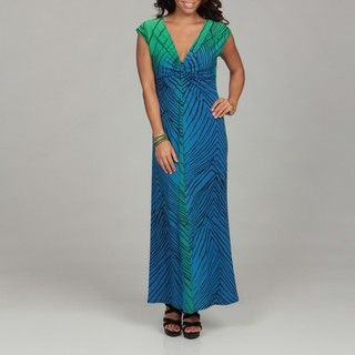 Annalee and Hope Womens Blue/ Green Knot Maxi Dress