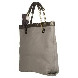 Lanvin Amalia Grey Quilted Leather Tote Bag