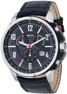 Dkny Gents Quartz Black Dial Black Leather Band   Mens Watch NY1325