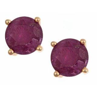 Yach 14k Yellow Gold Ruby Fashion Estate Stud Earrings