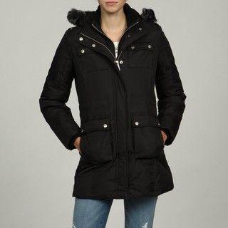 MICHAEL Michael Kors Womens Black Down filled Faux Fur Coat FINAL