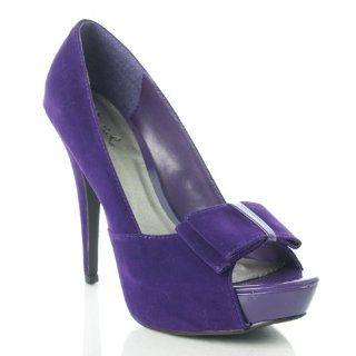 Qupid Nydia 133 Velvet Bow tie Platform Pump Shoes