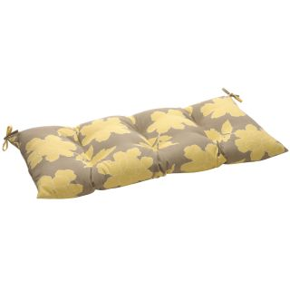 Pillow Perfect Grey/Yellow Floral Tufted Outdoor Loveseat Cushion