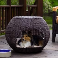 The Igloo Indoor/Outdoor Brown Faux rattan Pet Bed/End Table