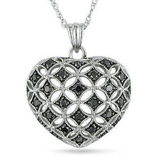 10k White Gold 1/4ct TDW Black Diamond Heart Necklace