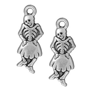 Beadaholique Silverplated Pewter Dia Muertos Dancing Senorita Charms