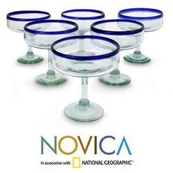 Set of 6 Blown Glass Happy Hour Margarita Glasses (Mexico