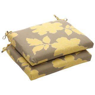 Outdoor Gray and Yellow Floral Squared Seat Cushion (Set of 2