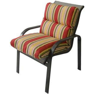 Ome Outdoor Club Chair Cushion in Striped Red Green Yellow Outdura