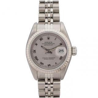 Pre owned Rolex Womens Datejust White Gold Grey Roman Dial Watch