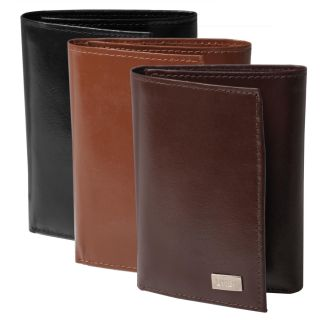 Boston Traveler Mens Genuine Leather Tri fold Wallet