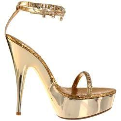 Celeste Womens Nicole 08 Gold Crystal draped Platforms