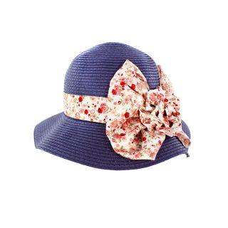Faddism Womens Dark Blue Straw Rosette Sun Hat
