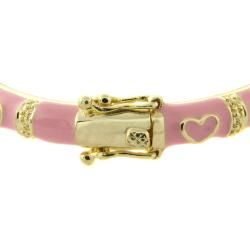 Molly and Emma 14k Gold Overlay Childrens Pink Heart Bracelet