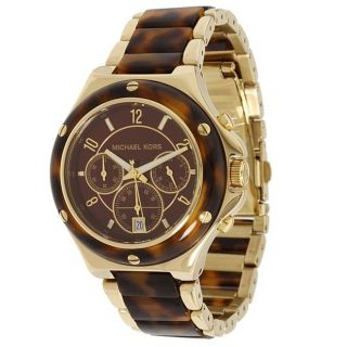 Michael Kors Womens Chronograph Tortoise Brown Dial Watch