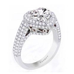 Danhov 18k Gold Cubic Zirconia and 7/8ct TDW Diamond Engagement Ring