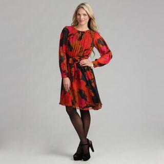 Calvin Klein Womens Floral Printed Chiffon Dress