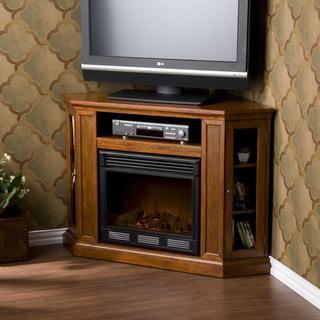 Belvedere Mahogany Media Console Elecric Fireplace