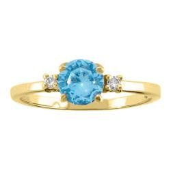 10k Gold December Birthstone Swiss Blue Topaz and Diamond Ring