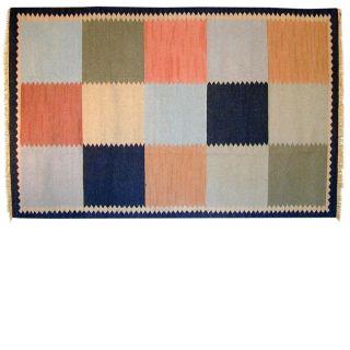 Multi Squares Flat weave Wool Rug (8 x 10)
