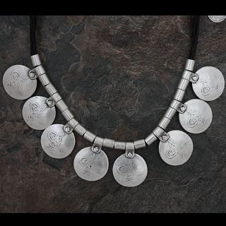 Silverplated Pewter Turkish Script Coins Leather Necklace (Turkey