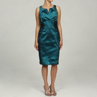 London Times Womens Teal Sleeveless Side Ruched Dress