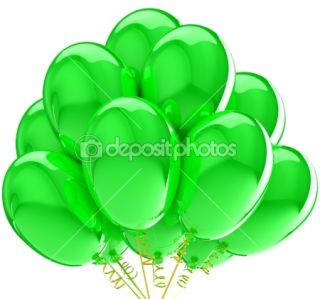 3d Balloons. Birthday and party decoration. Isolated on white.  Stock