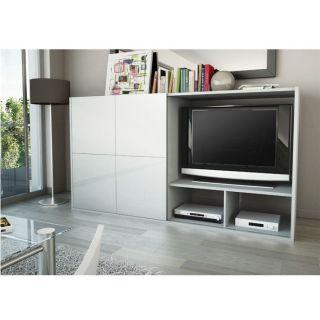 SAMOS Meuble TV Paroi 1 porte 203 cm Blanc/Gris   Achat / Vente MEUBLE