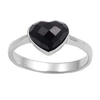 Sterling Silver Onyx Heart Ring for Women Jewelry