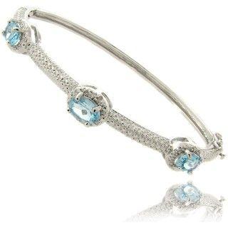 Gem Jolie Silver Overlay Blue Topaz and Diamond Accent Bangle Bracelet