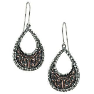 Southwest Moon Sterling Silver Beaded Copperplated Earrings