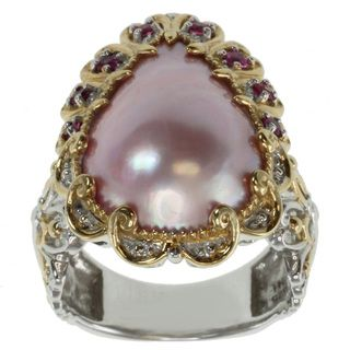 Michael Valitutti Two tone Pink Mabe Pearl Ring