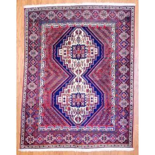 Persian Hand knotted Hamadan Red/ Blue Wool Rug (56 x 72