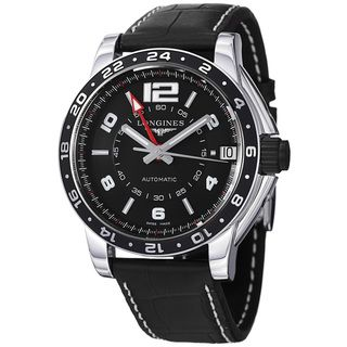Longines Mens Admiral Black GMT Dial Black Leather Strap Watch