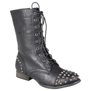 Refresh by Beston Womens Libby 02 Lace up Studded Combat Boots