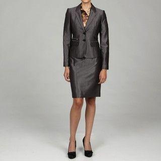 Calvin Klein Womens Charcoal 2 piece Skirt Suit