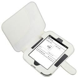 White Leather Case for Barnes and Noble Nook 2