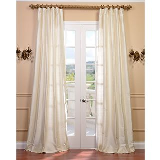 Signature Pearl White Textured Silk 84 inch Curtain