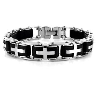 Stainless Steel Mens Black Rubber Cross Link Bracelet