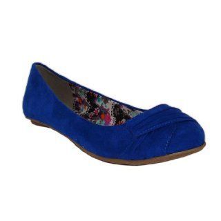 Qupid Blue Suede Rouching Ballerina Flats Size 5.5 (Thesis147) Shoes