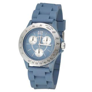 Montre en silicone sur bracelet de coloris bleu. Cadran bleu doté d