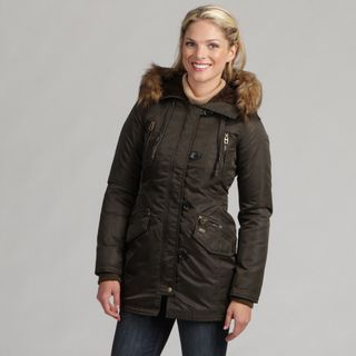 Miss Sixty Womens Faux Fur Hooded Parka