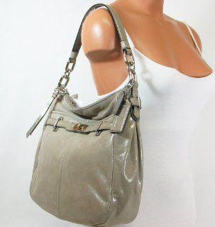 Metallic Leather Shoulder Hobo Bag Purse Tote 18696 Platinum Shoes