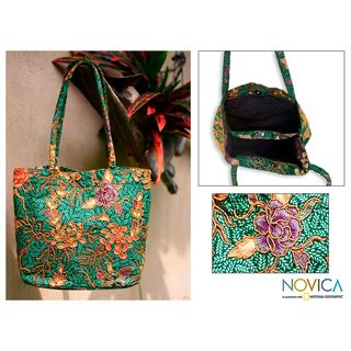Medium Cotton Princess Art Beaded Batik Tote Bag (Indonesia