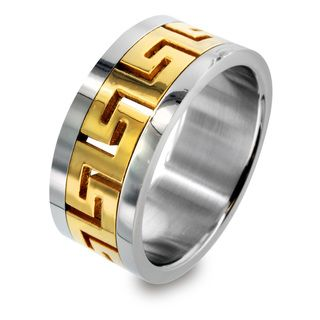 Two tone Stainless Steel Greek Key Design Ring