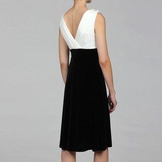 Connected Apparel Womens Black/ Ivory Embellished Neckline Dress