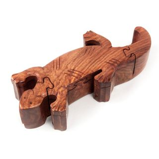 Hand Carved Wooden Gecko Puzzle Box (India)